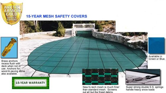 16x40 Rectangle Inground Swimming Pool Mesh Safety Cover