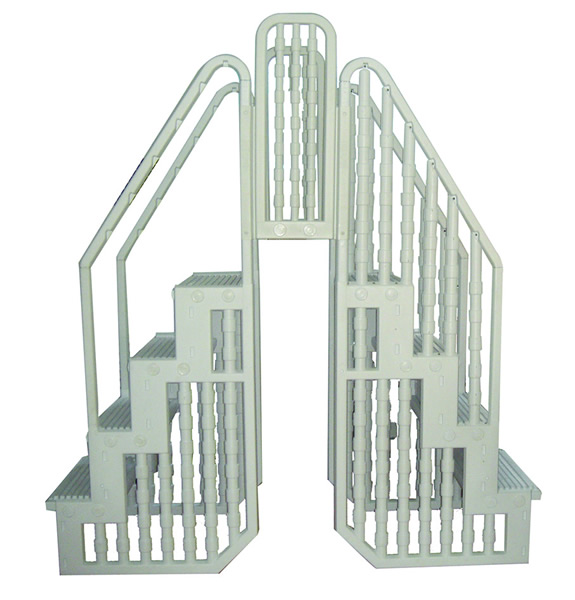 Above ground pool stairs entry steps ladder with gate ebay - Above ground pool steps for handicap ...